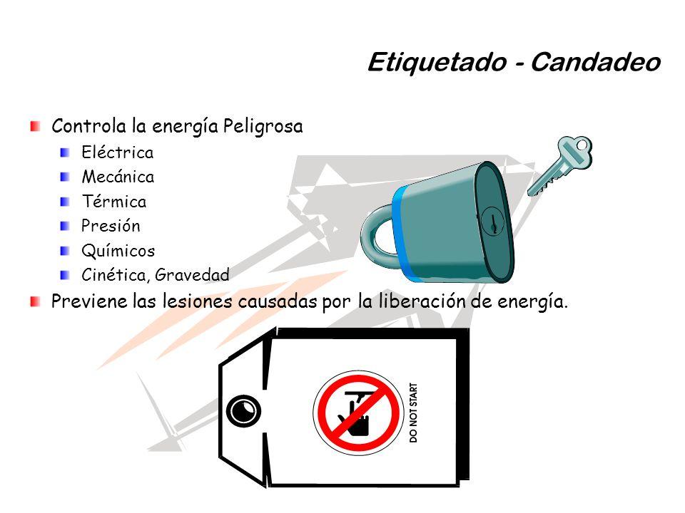 Etiquetado - Candadeo Controla la energía Peligrosa Eléctrica Mecánica Térmica Presión Químicos Cinética, Gravedad Previene las lesiones causadas por