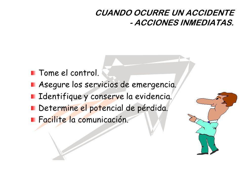 Tome el control. Asegure los servicios de emergencia. Identifique y conserve la evidencia. Determine el potencial de pérdida. Facilite la comunicación