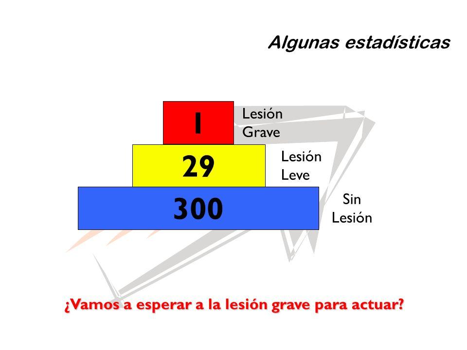 Algunas estadísticas 1 29 300 Lesión Grave Lesión Leve Sin Lesión ¿Vamos a esperar a la lesión grave para actuar?