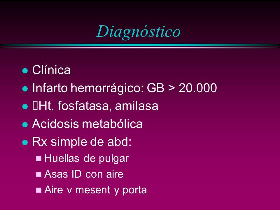 Diagnóstico l Clínica l Infarto hemorrágico: GB > 20.000 Ht. fosfatasa, amilasa l Acidosis metabólica l Rx simple de abd: n Huellas de pulgar n Asas I