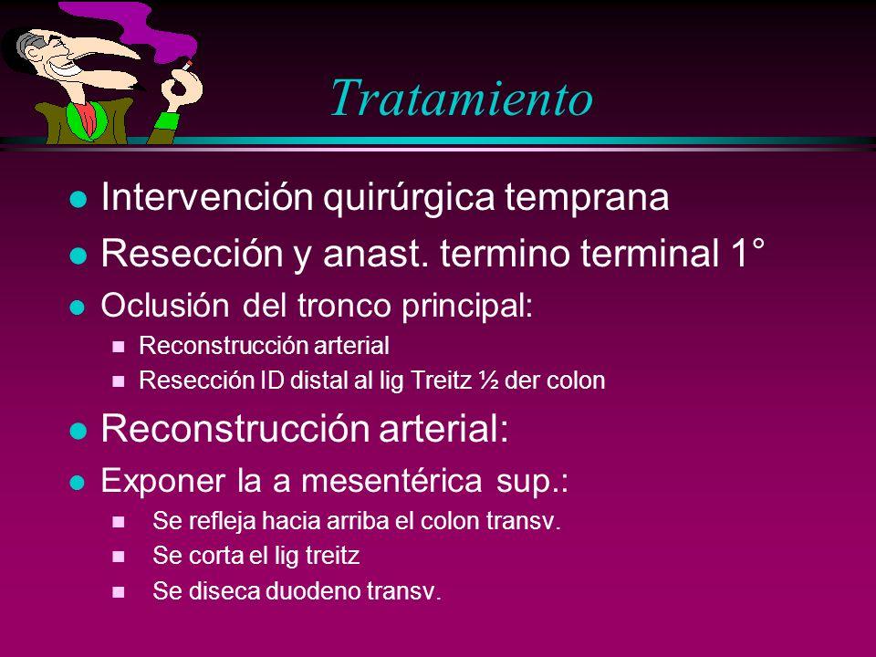 Tratamiento l Intervención quirúrgica temprana l Resección y anast. termino terminal 1° l Oclusión del tronco principal: n Reconstrucción arterial n R
