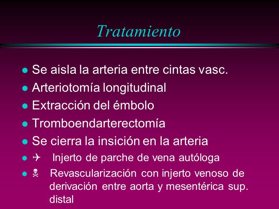 Tratamiento l Se aisla la arteria entre cintas vasc. l Arteriotomía longitudinal l Extracción del émbolo l Tromboendarterectomía l Se cierra la insici