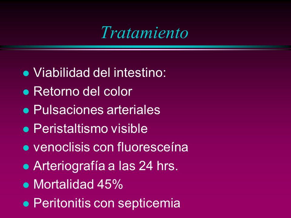 Tratamiento l Viabilidad del intestino: l Retorno del color l Pulsaciones arteriales l Peristaltismo visible l venoclisis con fluoresceína l Arteriogr