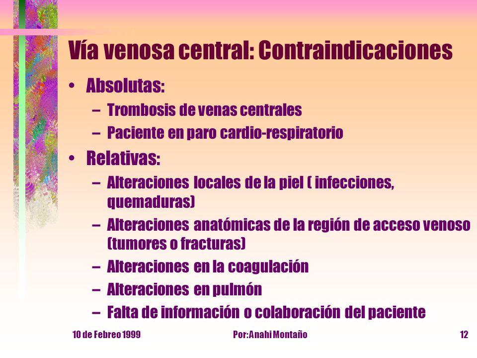 10 de Febreo 1999Por: Anahi Montaño12 Vía venosa central: Contraindicaciones Absolutas: –Trombosis de venas centrales –Paciente en paro cardio-respira