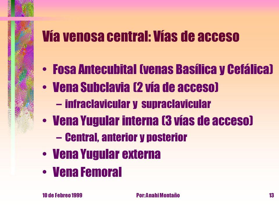 10 de Febreo 1999Por: Anahi Montaño13 Vía venosa central: Vías de acceso Fosa Antecubital (venas Basílica y Cefálica) Vena Subclavia (2 vía de acceso)