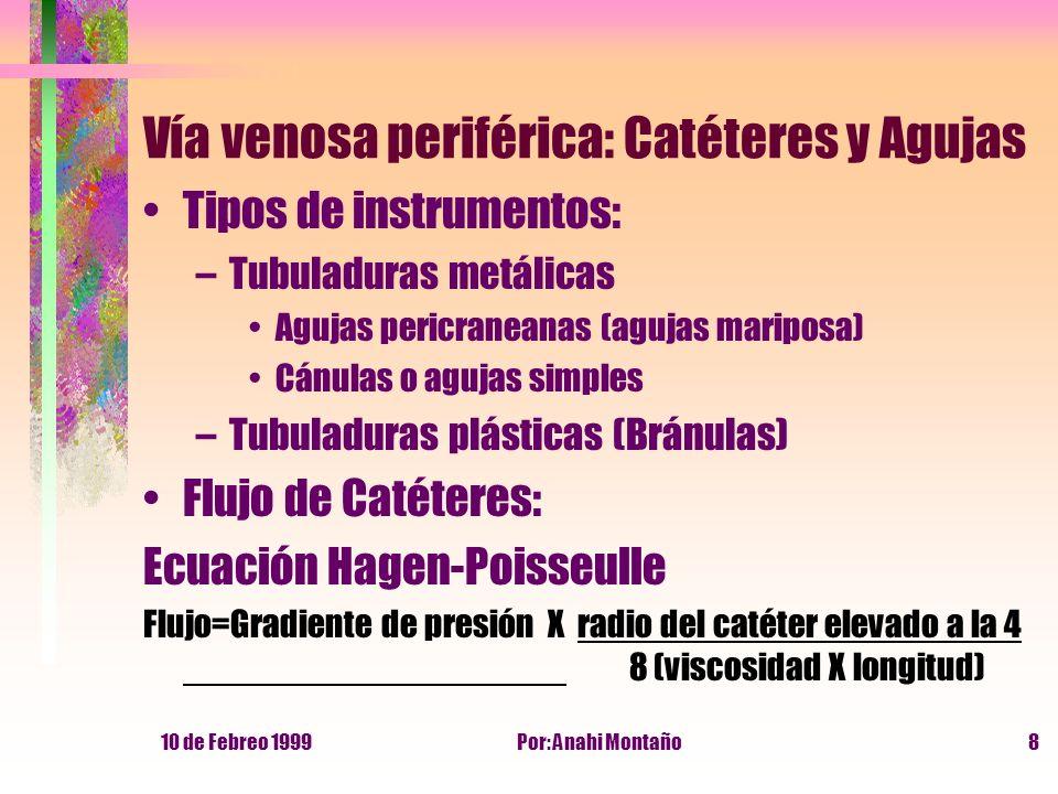 10 de Febreo 1999Por: Anahi Montaño8 Vía venosa periférica: Catéteres y Agujas Tipos de instrumentos: –Tubuladuras metálicas Agujas pericraneanas (agu