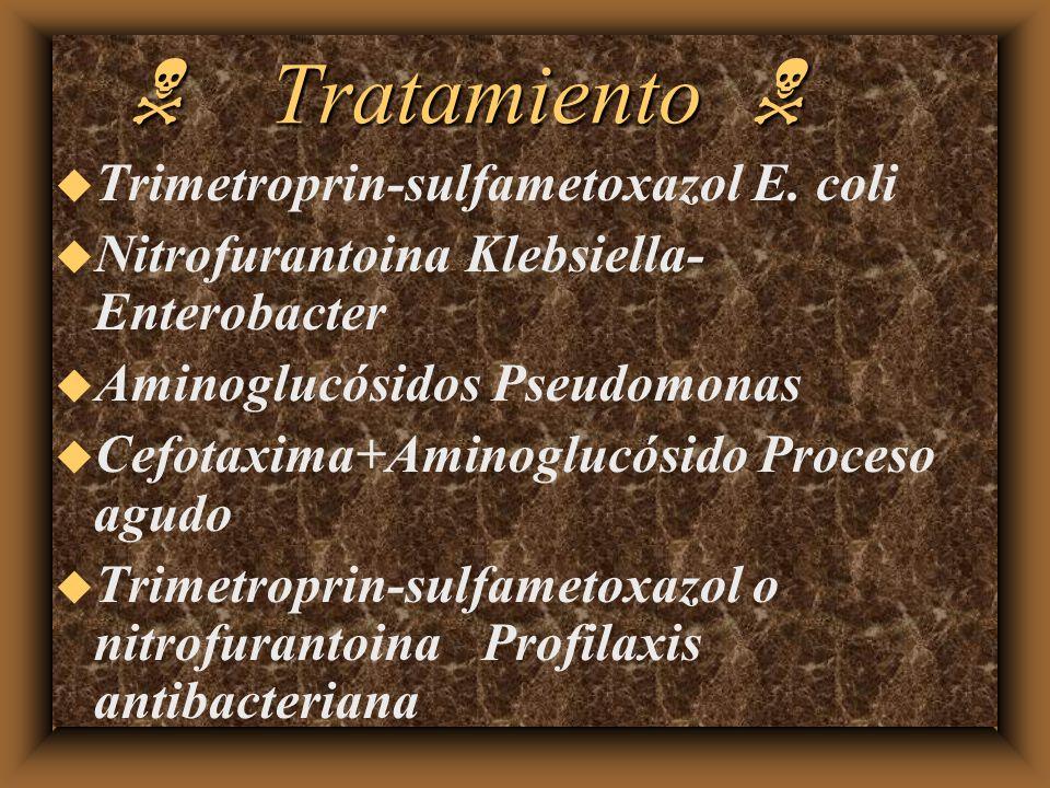 Tratamiento Tratamiento u Trimetroprin-sulfametoxazol E. coli u Nitrofurantoina Klebsiella- Enterobacter u Aminoglucósidos Pseudomonas u Cefotaxima+Am