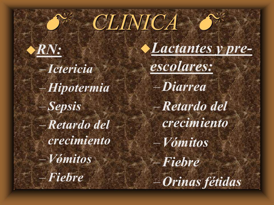 CLINICA CLINICA u RN: –Ictericia –Hipotermia –Sepsis –Retardo del crecimiento –Vómitos –Fiebre u Lactantes y pre- escolares: –Diarrea –Retardo del cre