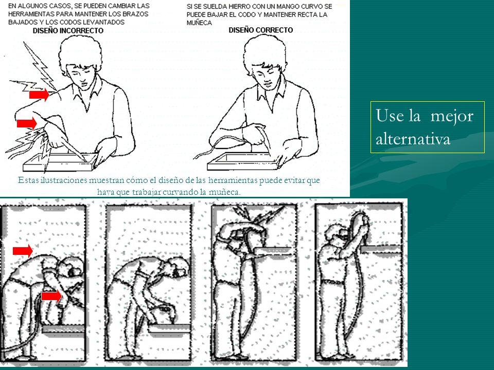 Estas ilustraciones muestran cómo el diseño de las herramientas puede evitar que haya que trabajar curvando la muñeca. Use la mejor alternativa