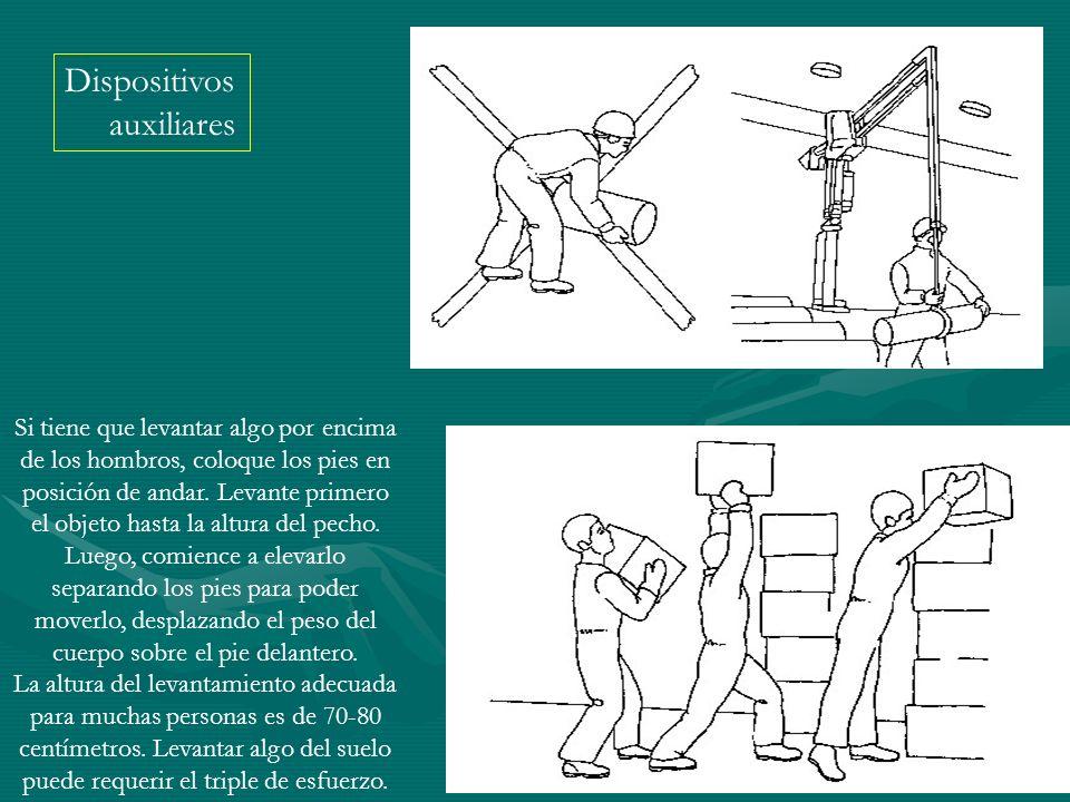 Dispositivos auxiliares Si tiene que levantar algo por encima de los hombros, coloque los pies en posición de andar. Levante primero el objeto hasta l