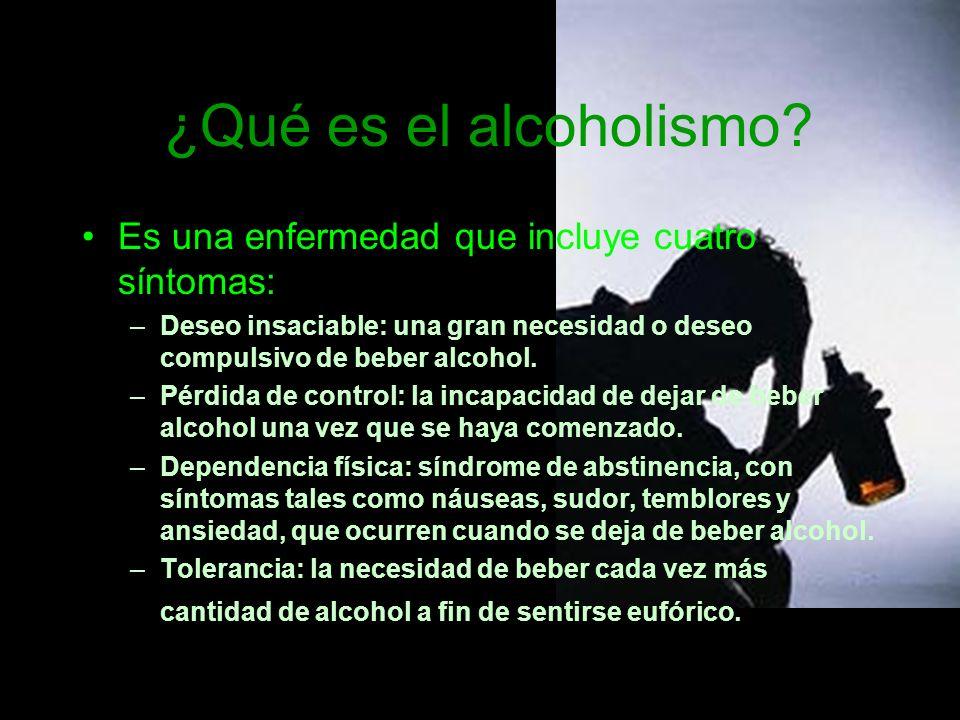 Muestras de alcoholismo Bebe mas del normal Elige a beber sobre otras actividades Cuando no recuerda que hace después de beber.