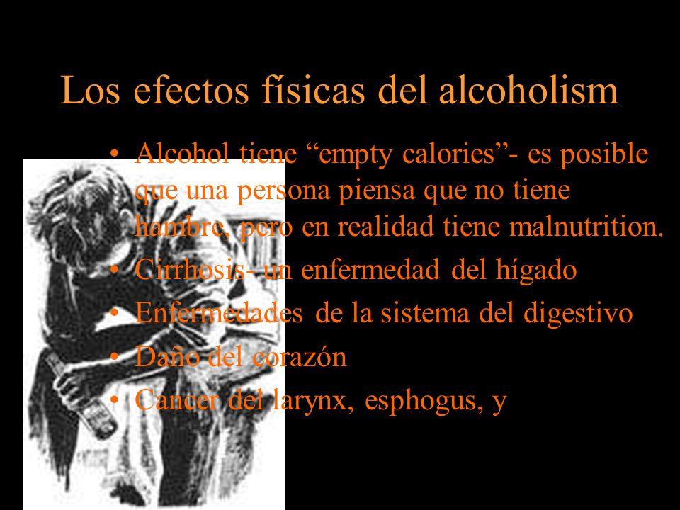 Los Efectos sociales del alcoholismo Perder trabajo, amigos, familia, novios, esposos, y salud.