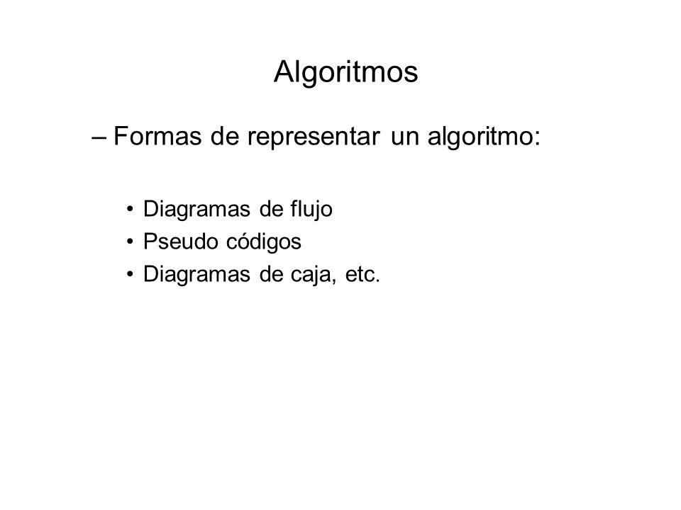 Algoritmos –Formas de representar un algoritmo: Diagramas de flujo Pseudo códigos Diagramas de caja, etc.