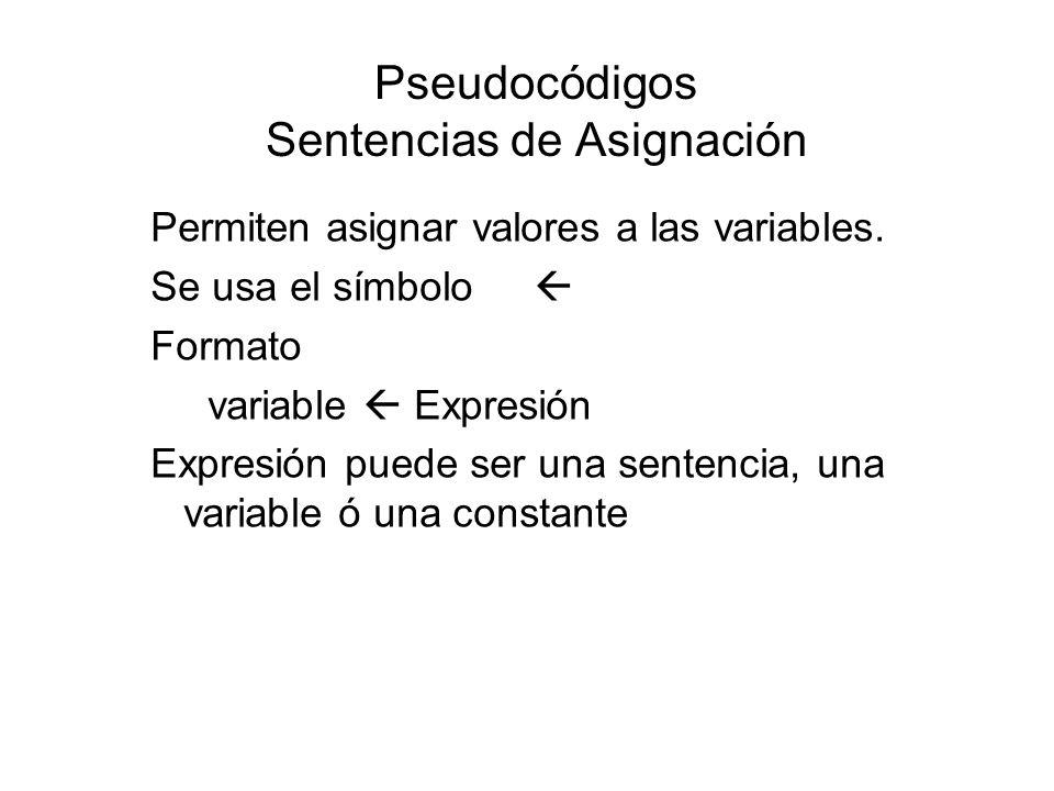 Pseudocódigos Sentencias de Asignación Permiten asignar valores a las variables. Se usa el símbolo Formato variable Expresión Expresión puede ser una