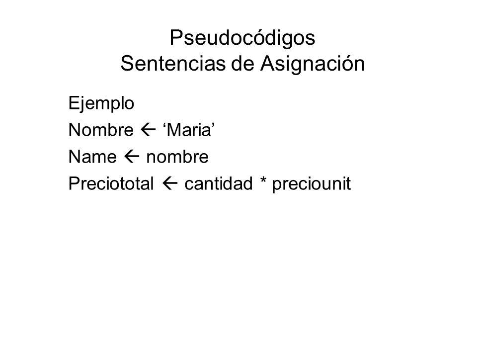 Pseudocódigos Sentencias de Asignación Ejemplo Nombre Maria Name nombre Preciototal cantidad * preciounit