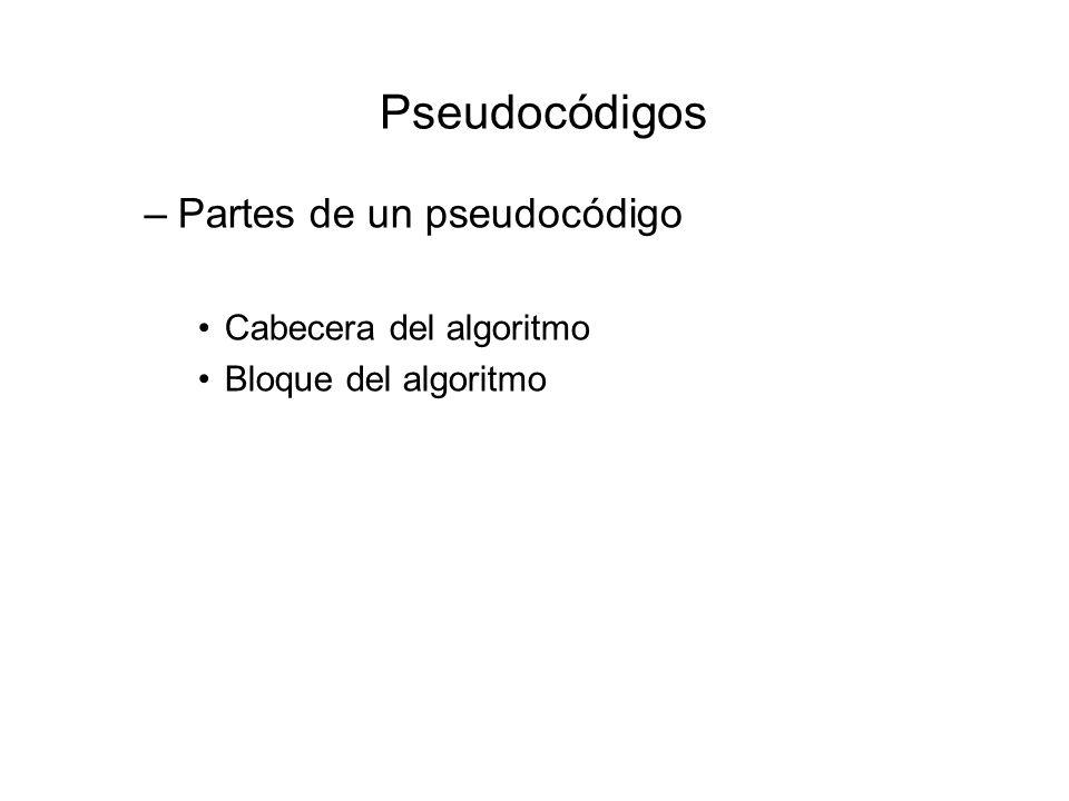Pseudocódigos –Partes de un pseudocódigo Cabecera del algoritmo Bloque del algoritmo