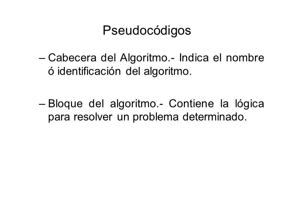 Pseudocódigos –Cabecera del Algoritmo.- Indica el nombre ó identificación del algoritmo. –Bloque del algoritmo.- Contiene la lógica para resolver un p