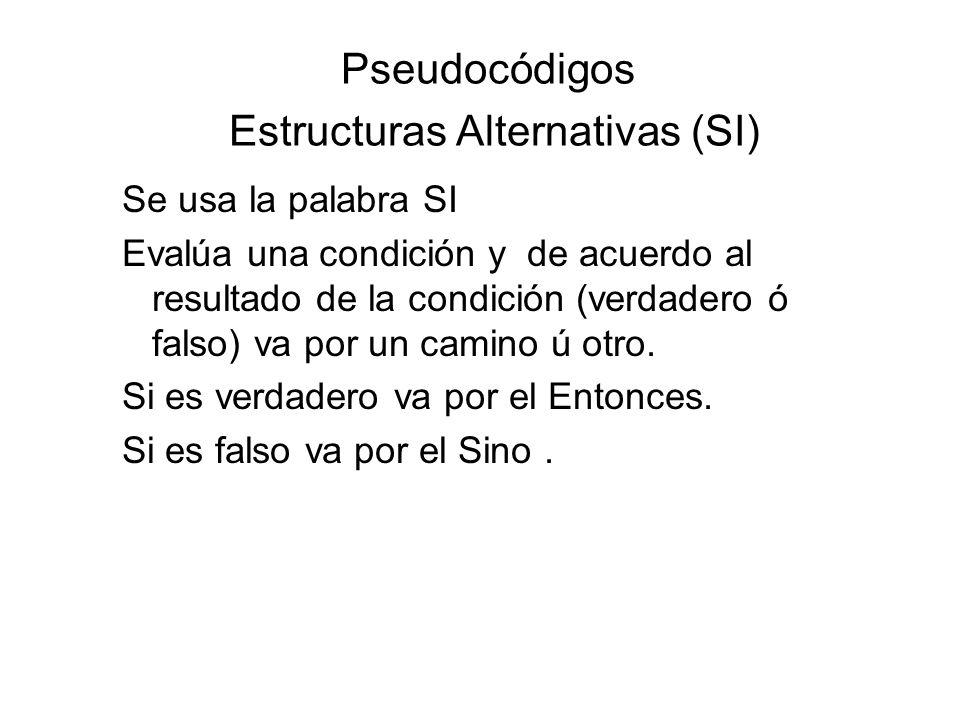 Pseudocódigos Estructuras Alternativas (SI) Se usa la palabra SI Evalúa una condición y de acuerdo al resultado de la condición (verdadero ó falso) va