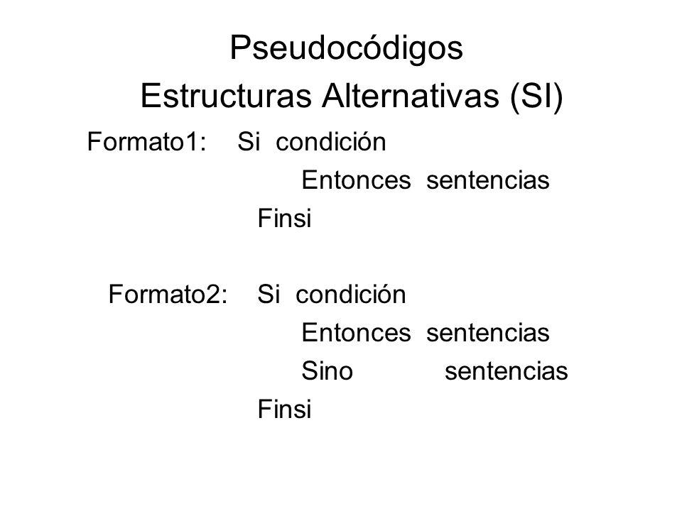 Pseudocódigos Estructuras Alternativas (SI) Formato1: Si condición Entonces sentencias Finsi Formato2: Si condición Entonces sentencias Sino sentencia