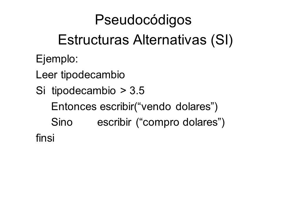 Pseudocódigos Estructuras Alternativas (SI) Ejemplo: Leer tipodecambio Si tipodecambio > 3.5 Entonces escribir(vendo dolares) Sino escribir (compro do