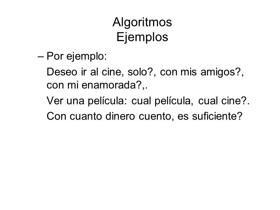 Algoritmos Ejemplos –Por ejemplo: Deseo ir al cine, solo?, con mis amigos?, con mi enamorada?,. Ver una película: cual película, cual cine?. Con cuant
