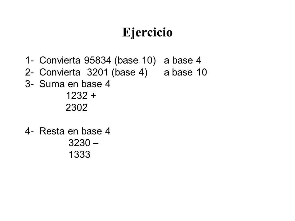 Ejercicio 1- Convierta 95834 (base 10) a base 4 2- Convierta 3201 (base 4) a base 10 3- Suma en base 4 1232 + 2302 4- Resta en base 4 3230 – 1333