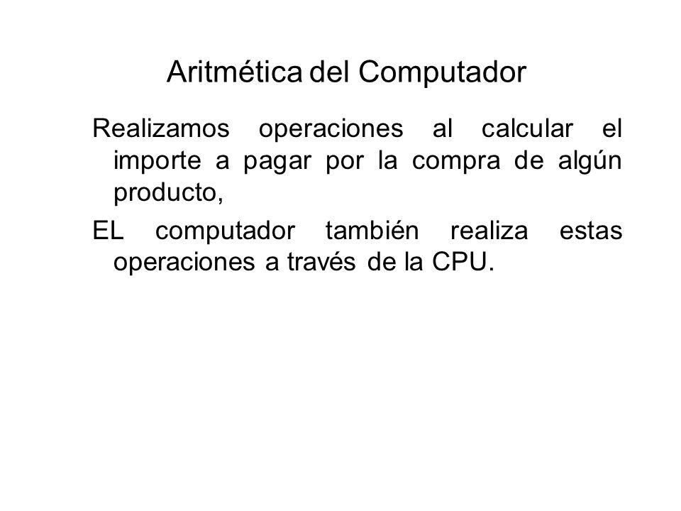 Aritmética del Computador Realizamos operaciones al calcular el importe a pagar por la compra de algún producto, EL computador también realiza estas operaciones a través de la CPU.