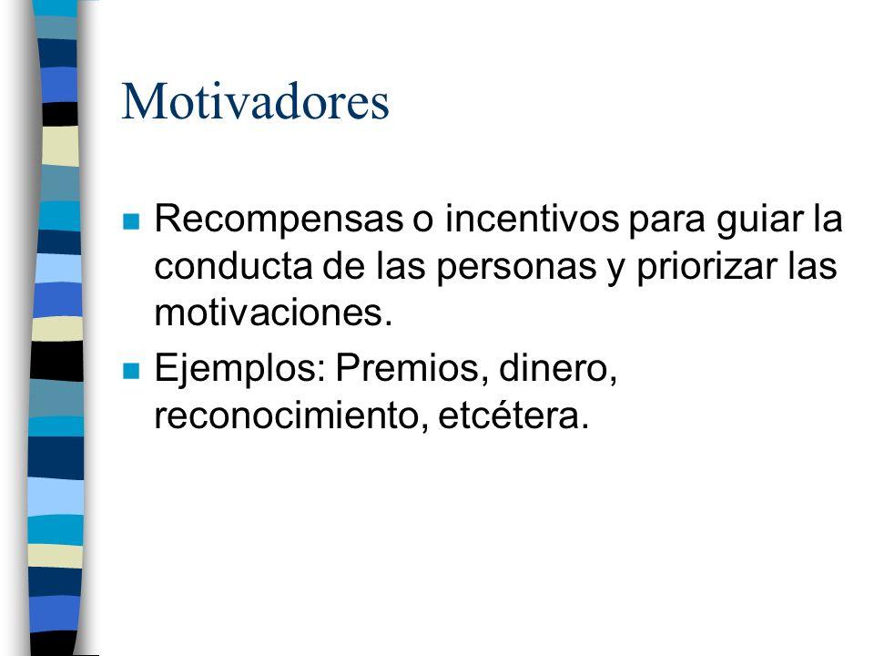 Motivadores n Recompensas o incentivos para guiar la conducta de las personas y priorizar las motivaciones. n Ejemplos: Premios, dinero, reconocimient
