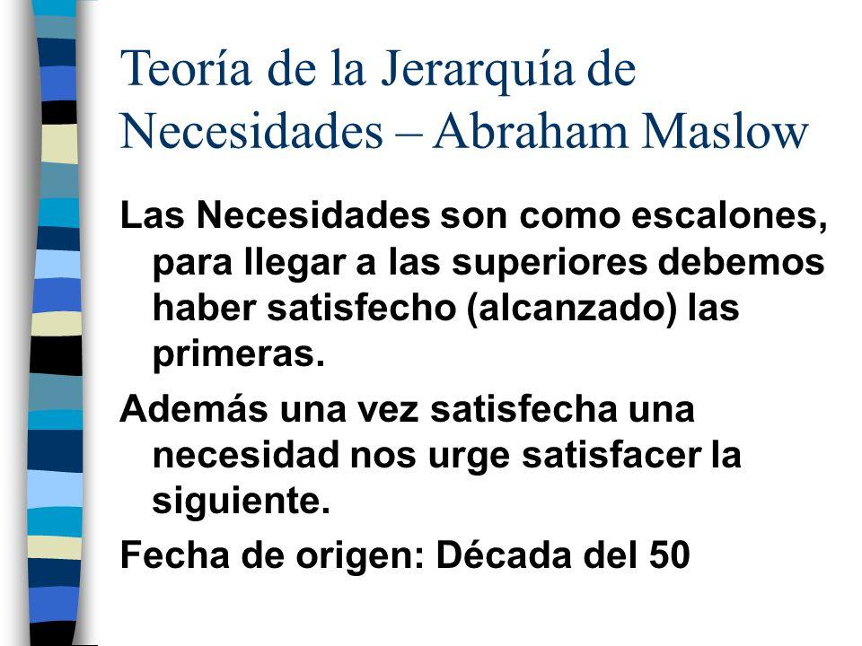 Teoría de la Jerarquía de Necesidades – Abraham Maslow Las Necesidades son como escalones, para llegar a las superiores debemos haber satisfecho (alca
