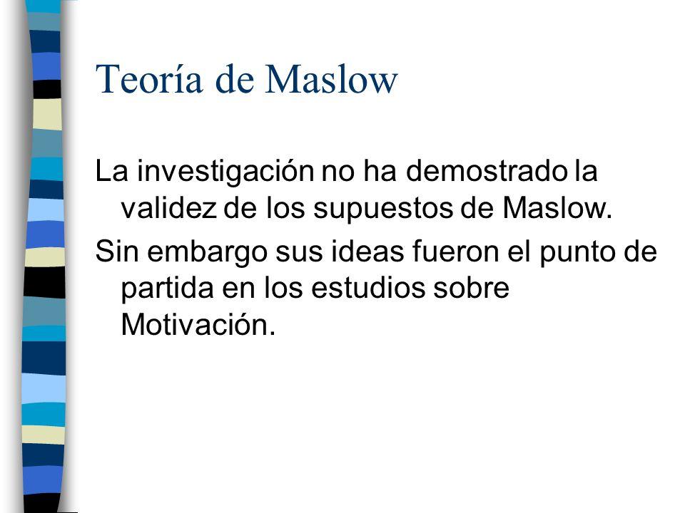 Teoría de Maslow La investigación no ha demostrado la validez de los supuestos de Maslow. Sin embargo sus ideas fueron el punto de partida en los estu
