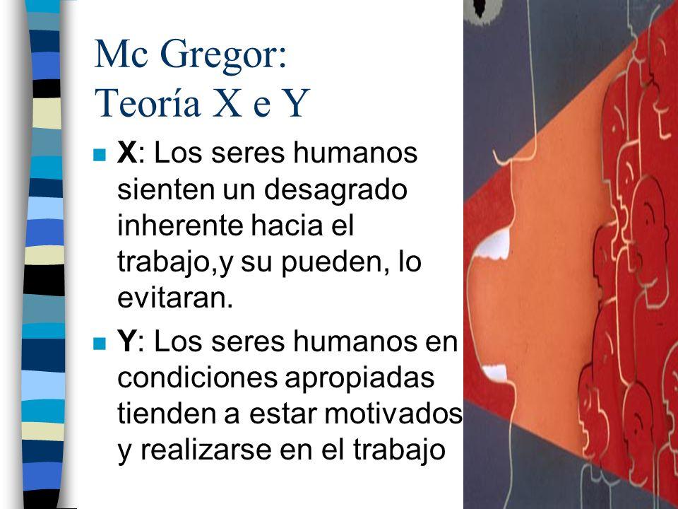 Mc Gregor: Teoría X e Y n X: Los seres humanos sienten un desagrado inherente hacia el trabajo,y su pueden, lo evitaran. n Y: Los seres humanos en con