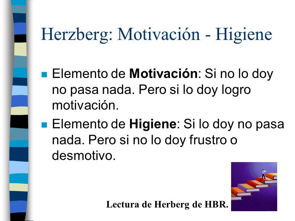 Herzberg: Motivación - Higiene n Elemento de Motivación: Si no lo doy no pasa nada. Pero si lo doy logro motivación. n Elemento de Higiene: Si lo doy