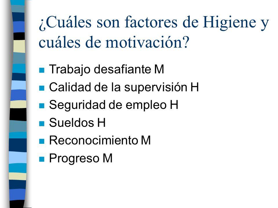 ¿Cuáles son factores de Higiene y cuáles de motivación? n Trabajo desafiante M n Calidad de la supervisión H n Seguridad de empleo H n Sueldos H n Rec