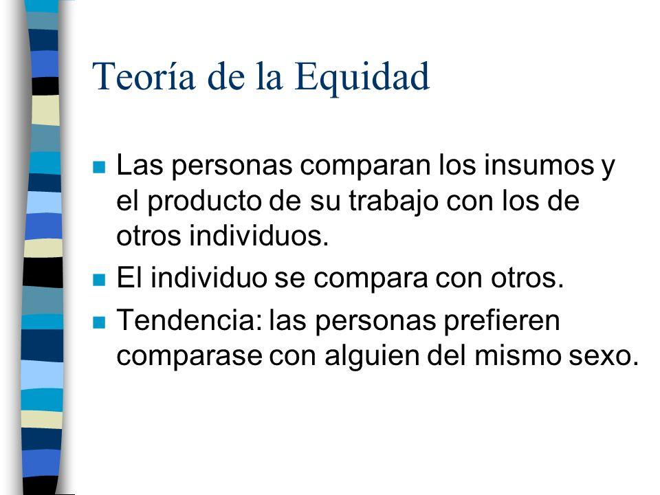 Teoría de la Equidad n Las personas comparan los insumos y el producto de su trabajo con los de otros individuos. n El individuo se compara con otros.