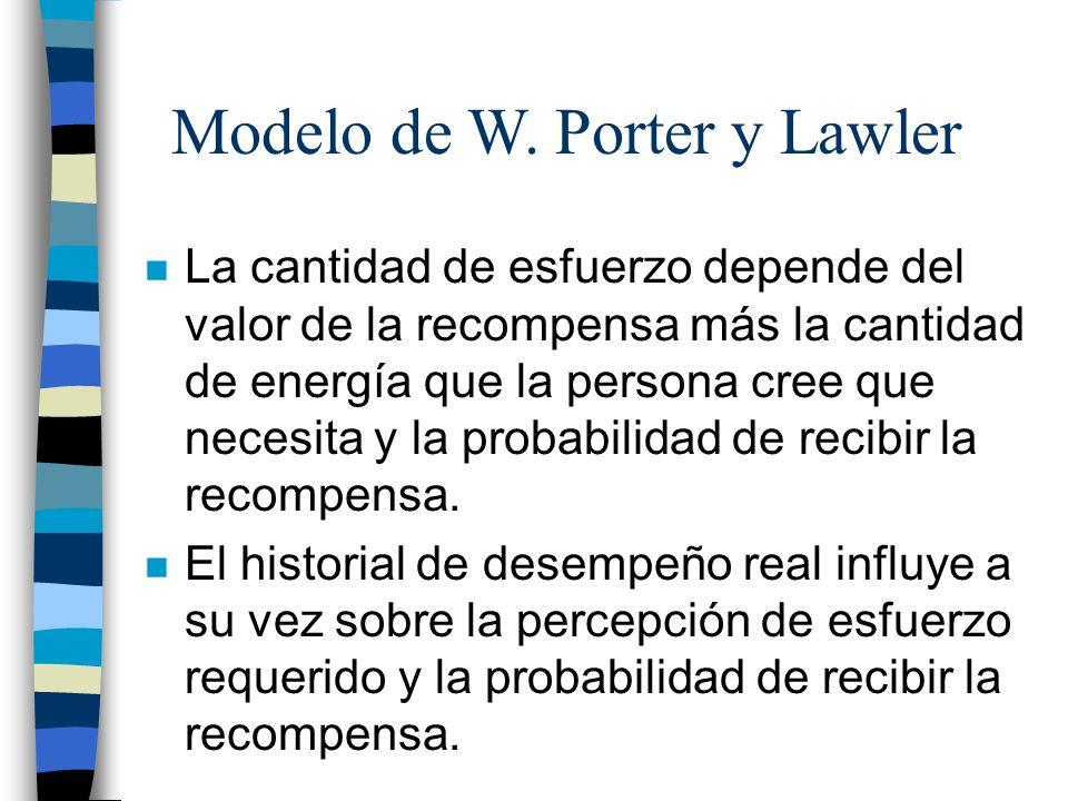 Modelo de W. Porter y Lawler n La cantidad de esfuerzo depende del valor de la recompensa más la cantidad de energía que la persona cree que necesita