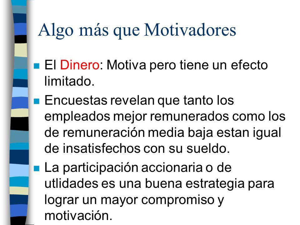 Algo más que Motivadores n El Dinero: Motiva pero tiene un efecto limitado. n Encuestas revelan que tanto los empleados mejor remunerados como los de
