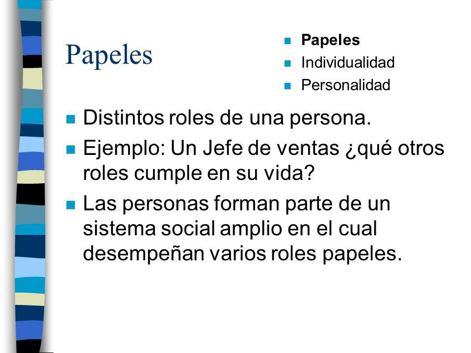 Papeles n Distintos roles de una persona. n Ejemplo: Un Jefe de ventas ¿qué otros roles cumple en su vida? n Las personas forman parte de un sistema s