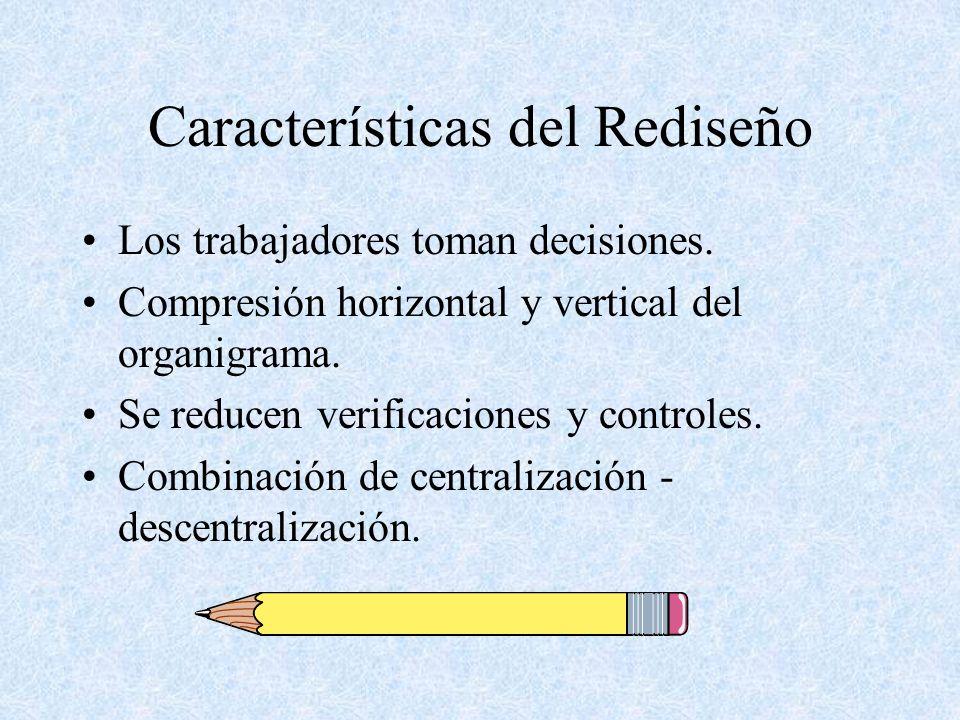 Características del Rediseño Los trabajadores toman decisiones. Compresión horizontal y vertical del organigrama. Se reducen verificaciones y controle
