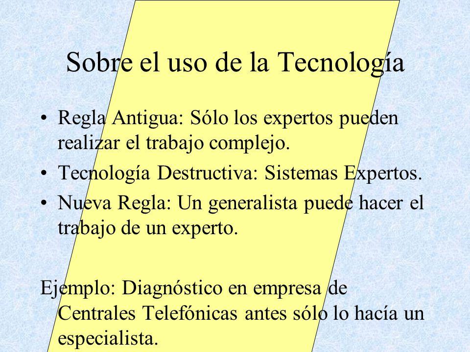 Sobre el uso de la Tecnología Regla Antigua: Sólo los expertos pueden realizar el trabajo complejo. Tecnología Destructiva: Sistemas Expertos. Nueva R