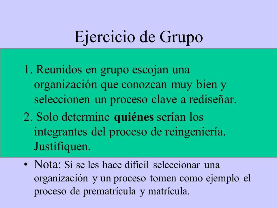Ejercicio de Grupo 1. Reunidos en grupo escojan una organización que conozcan muy bien y seleccionen un proceso clave a rediseñar. 2. Solo determine q