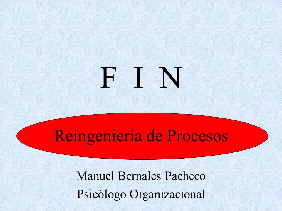 Reingeniería de Procesos Manuel Bernales Pacheco Psicólogo Organizacional F I N