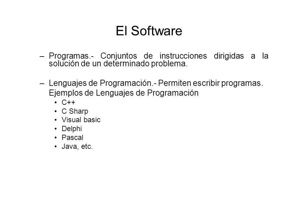 El Software –Programas.- Conjuntos de instrucciones dirigidas a la solución de un determinado problema.