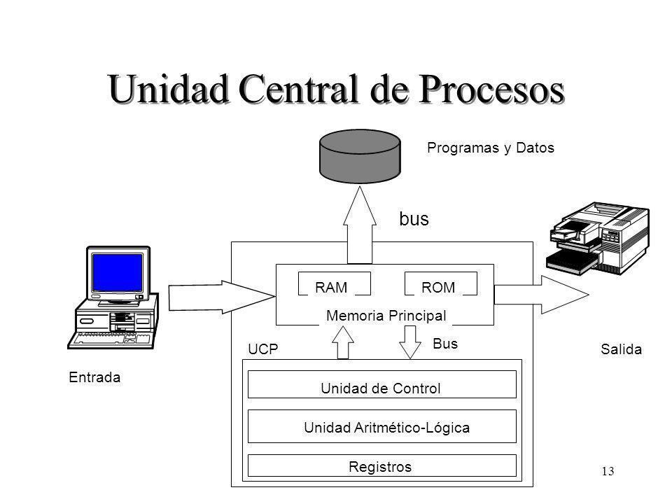 13 Unidad Central de Procesos Programas y Datos Entrada Salida RAMROM Memoria Principal Unidad de Control Unidad Aritmético-Lógica Registros UCP Bus bus