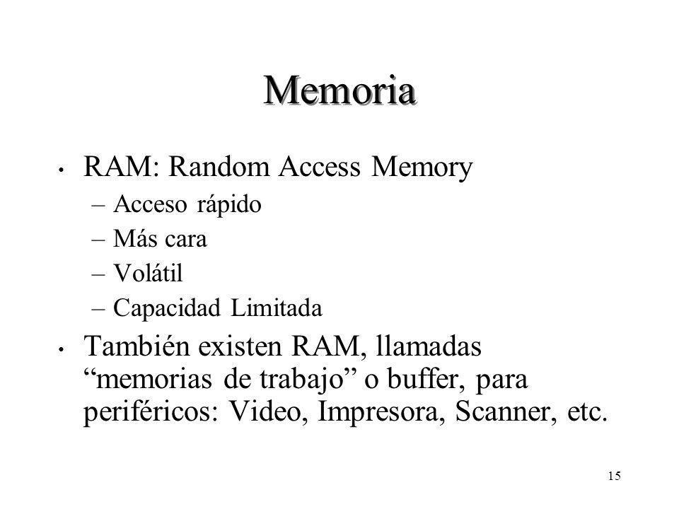 15 Memoria RAM: Random Access Memory –Acceso rápido –Más cara –Volátil –Capacidad Limitada También existen RAM, llamadas memorias de trabajo o buffer, para periféricos: Video, Impresora, Scanner, etc.