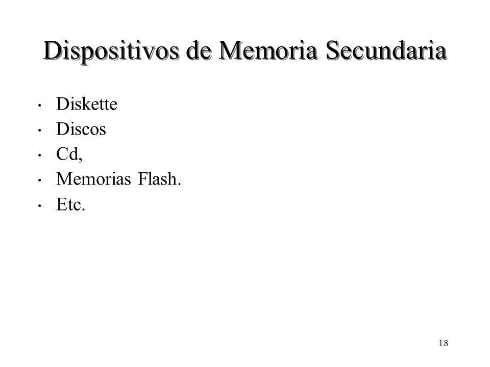 18 Dispositivos de Memoria Secundaria Diskette Discos Cd, Memorias Flash. Etc.