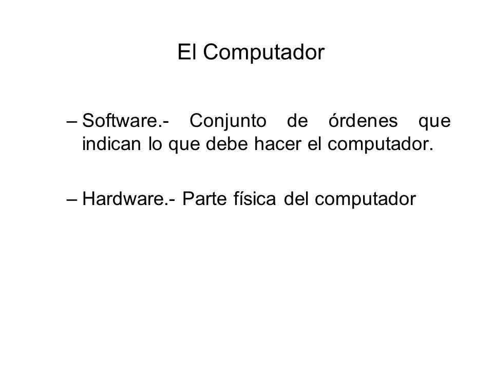 El Computador –Software.- Conjunto de órdenes que indican lo que debe hacer el computador.