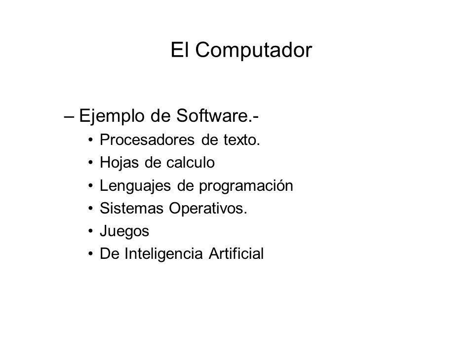 El Computador –Ejemplo de Software.- Procesadores de texto.