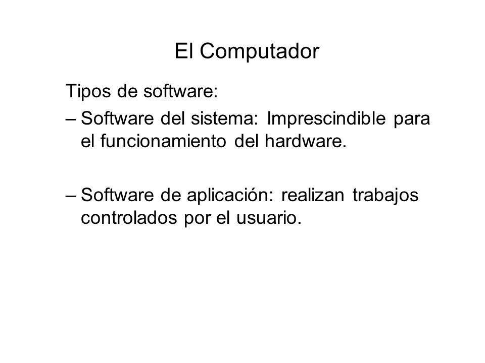 El Computador Tipos de software: –Software del sistema: Imprescindible para el funcionamiento del hardware.
