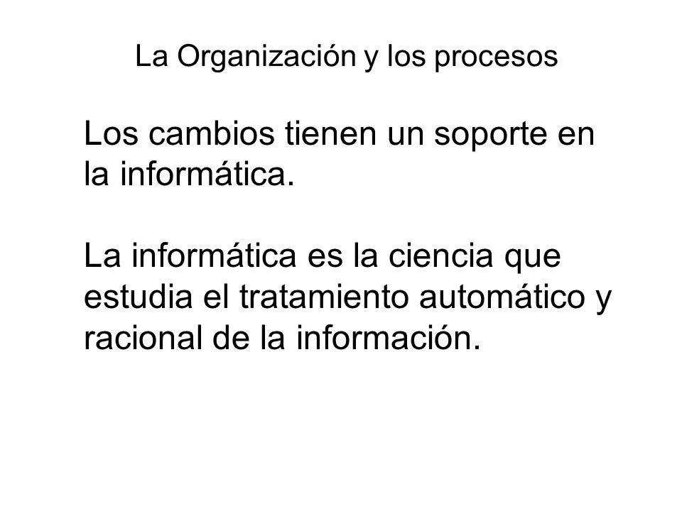 La Organización y los procesos Los cambios tienen un soporte en la informática.