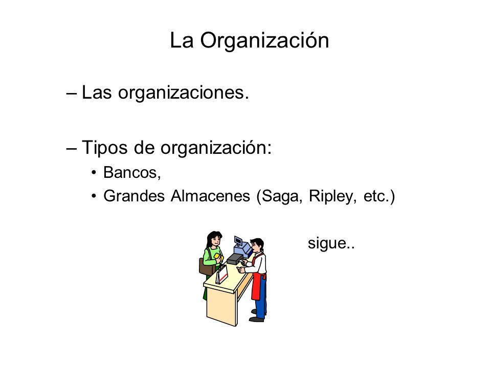 La Organización –Las organizaciones. –Tipos de organización: Bancos, Grandes Almacenes (Saga, Ripley, etc.) sigue..